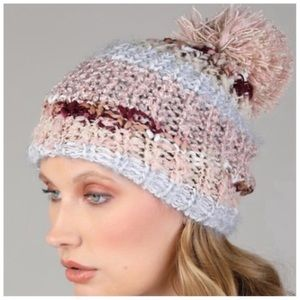 Blush soft knit pom beanie
